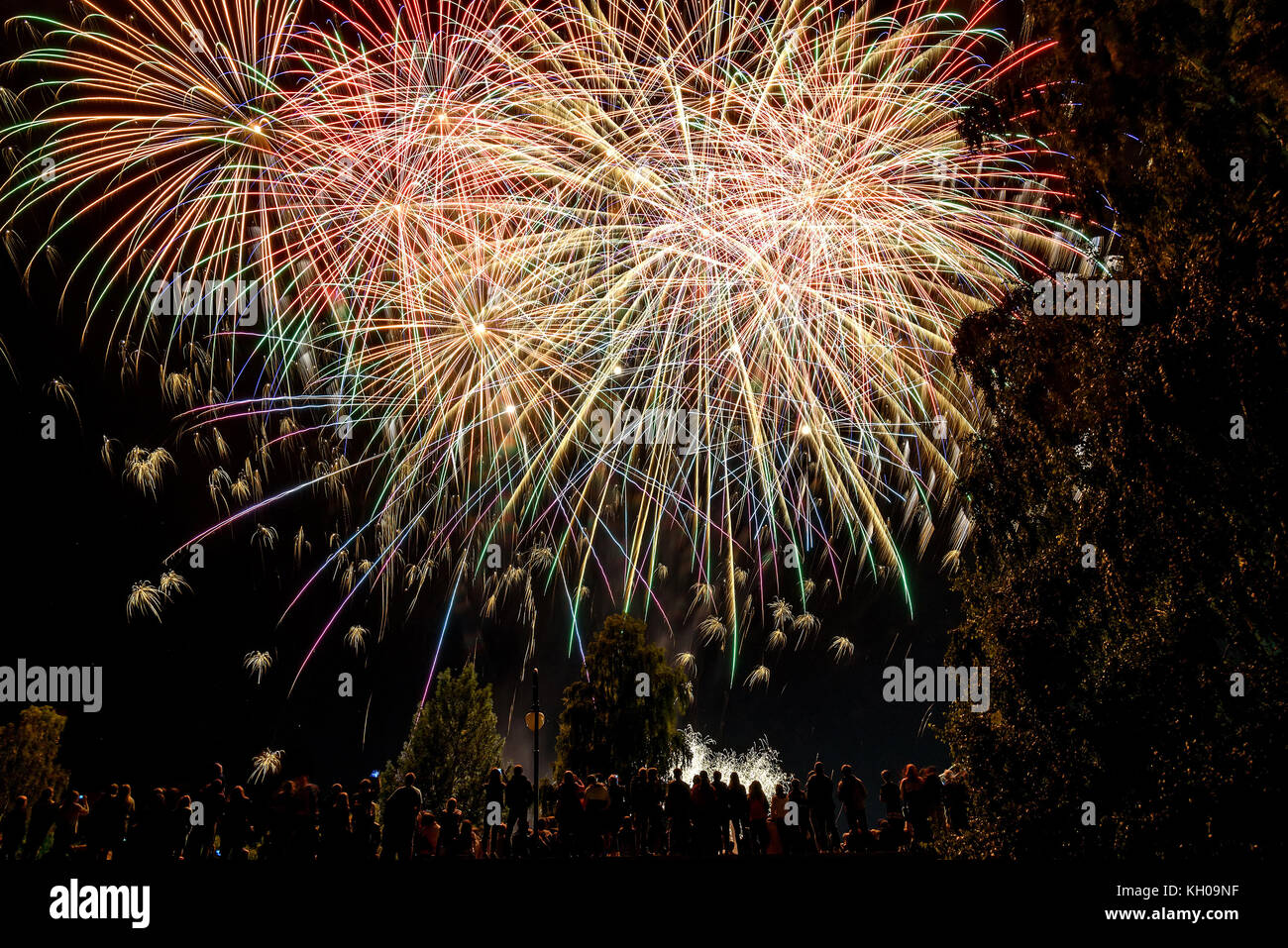 Barnaul, Russia. Celebration of the City Day, September 3, 2016. People look at the beautiful festive fireworks, - Stock Image