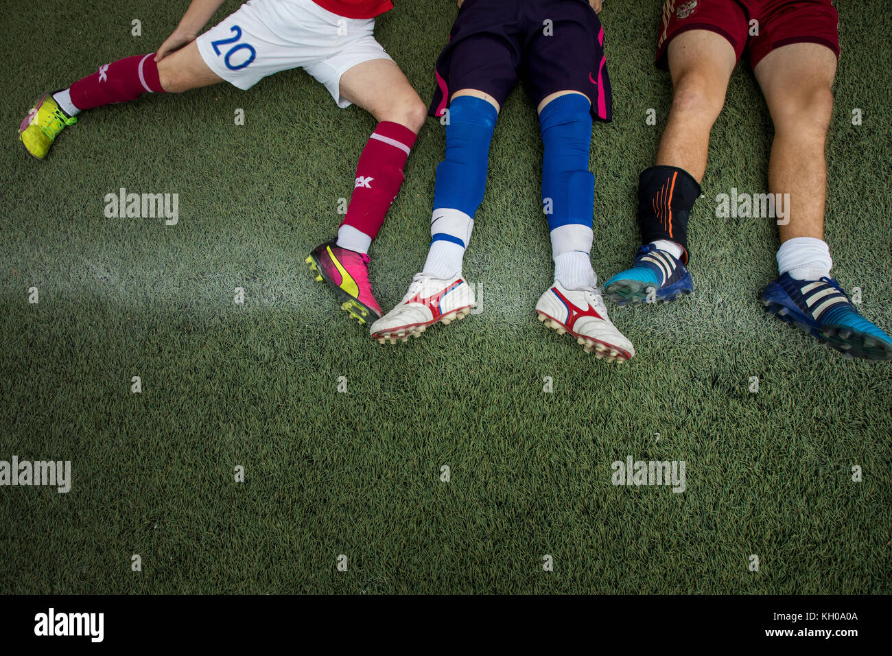Football players of the amateur team rest after the match - Stock Image