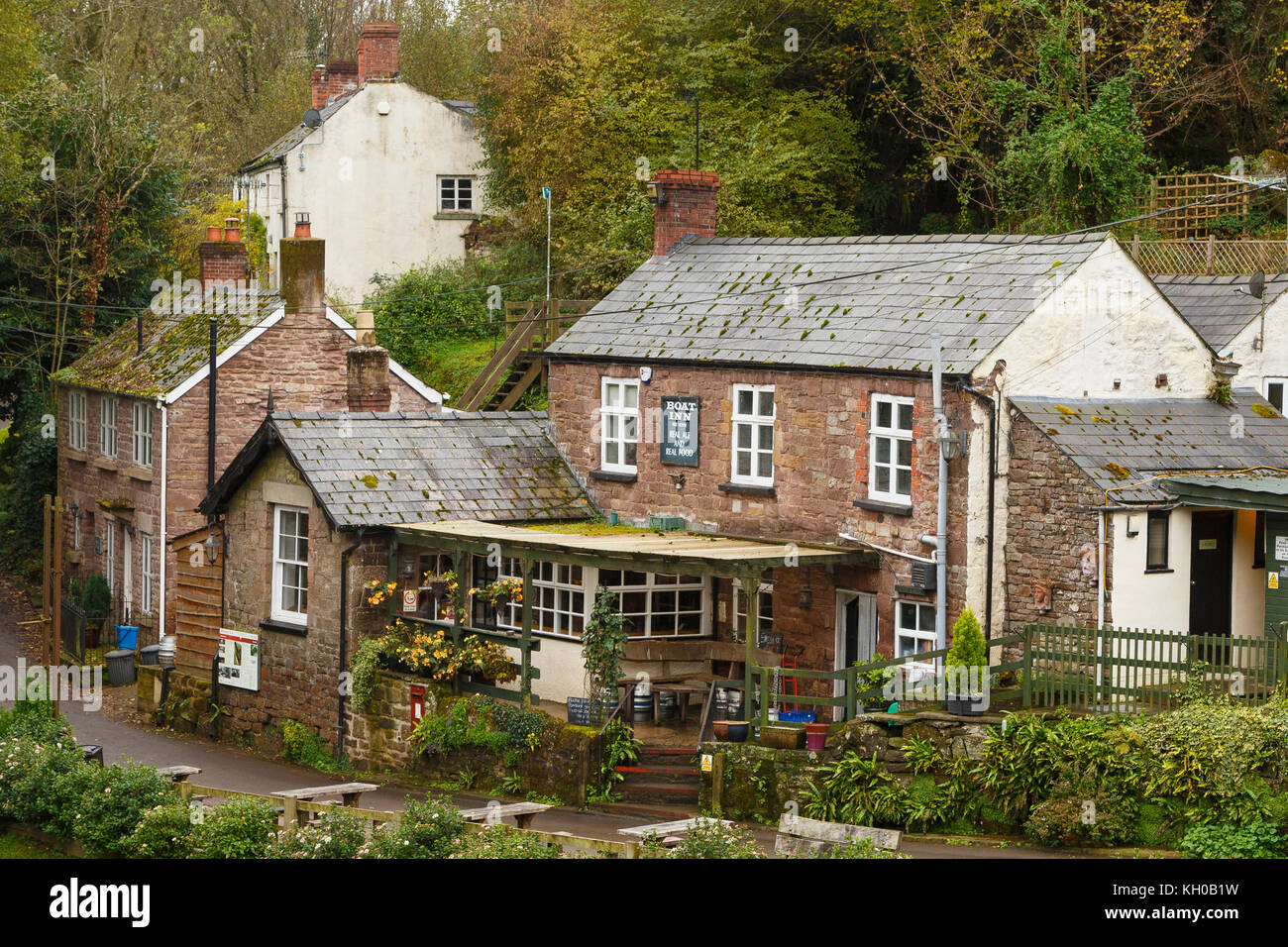 The Boat Inn, on the River Wye, Monmouthshire, Wales, UK - Stock Image