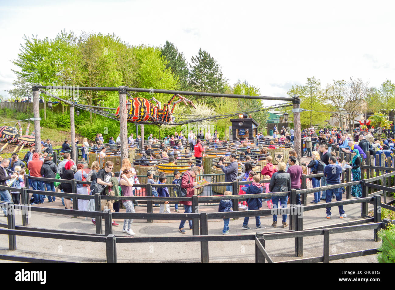 WINDSOR, BERKSHIRE. ENGLAND UK- APRIL 20 2016 : Legoland resort. People enjoying one of the many rides at Legoland Stock Photo