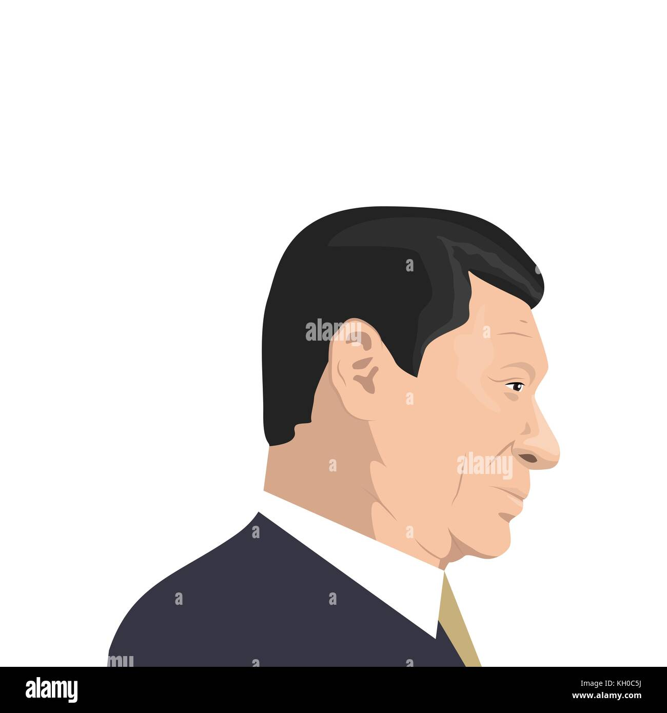 November 11, 2017. Editorial illustration of Xi Jinping portrait - the General Secretary of the Communist Party - Stock Vector
