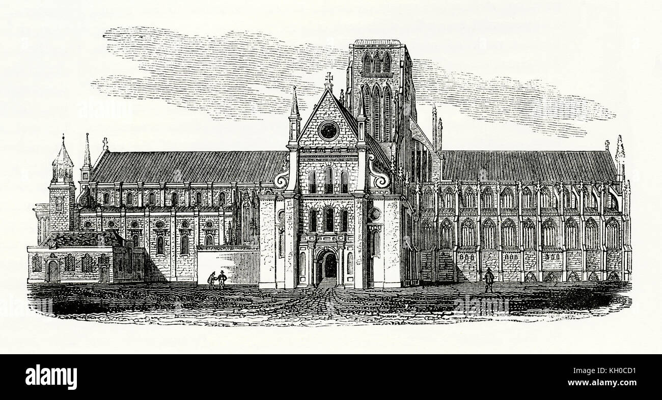 Old engraving showing the first St Paul's Cathedral c. 1600. St Paul's was the medieval cathedral of the - Stock Image