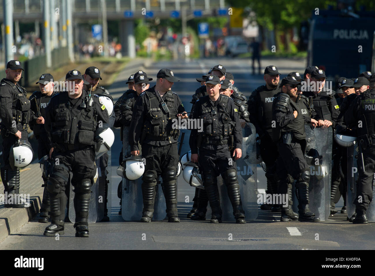 Polish anti-riot police (Oddzialy Prewencji Policji) during The Third Tricity Equality March to support LGBT rights - Stock Image