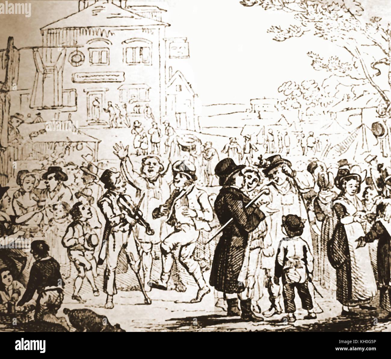 Hiring Servants at a mid 18th century annual rural husting,  (hiring fair aka 'mop fair', 'statute fair' - Stock Image