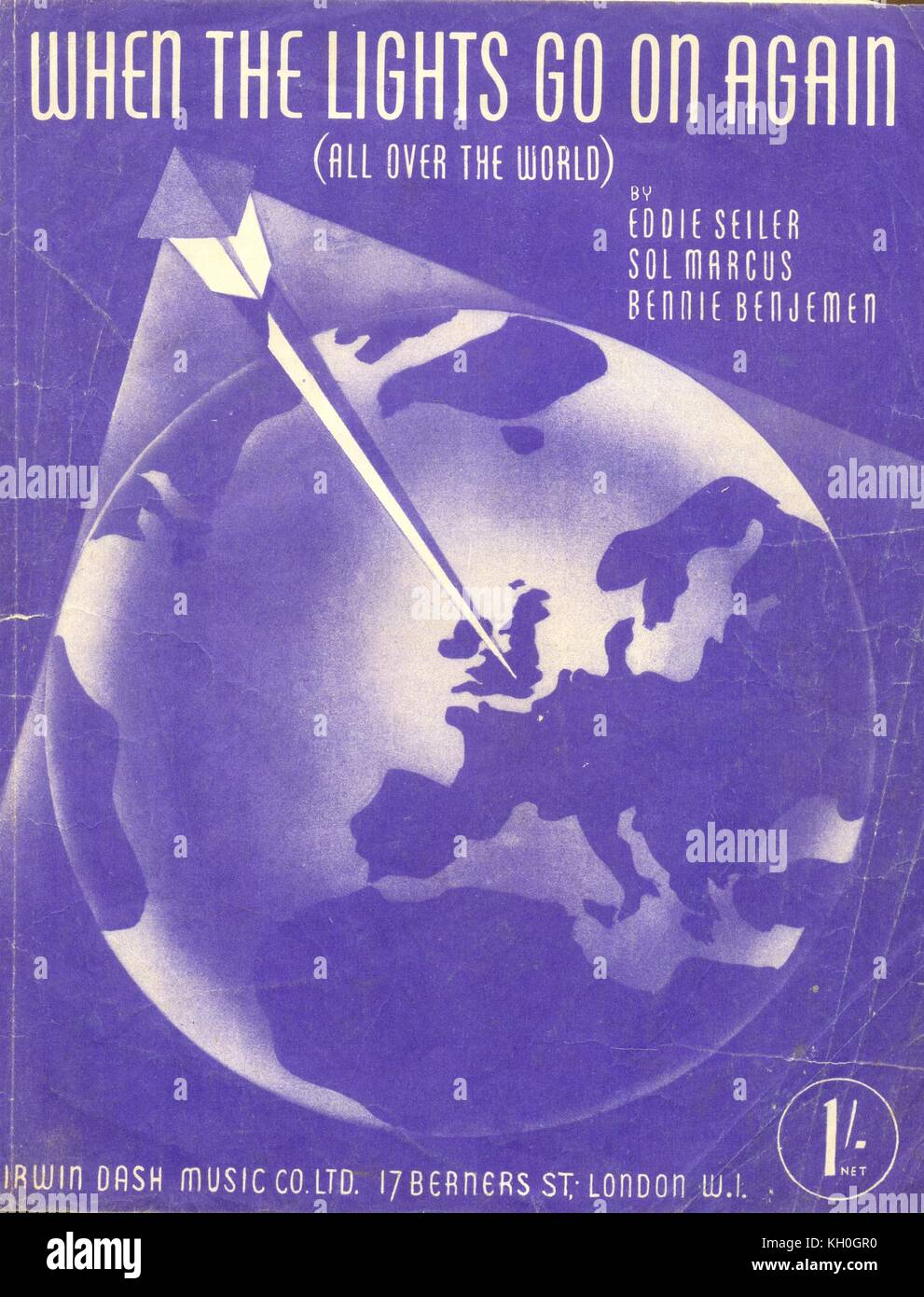 WW2 music sheet When the Lights go on Again (all over the world) 1942 - Stock Image
