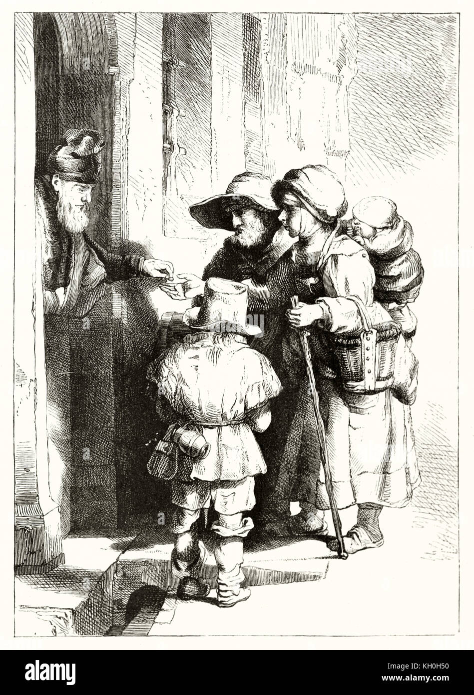 Old reproduction of Rembrandt's engraving depicting a man almsgiving. Publ. on Magasin Pittoresque, Paris, 1847 Stock Photo