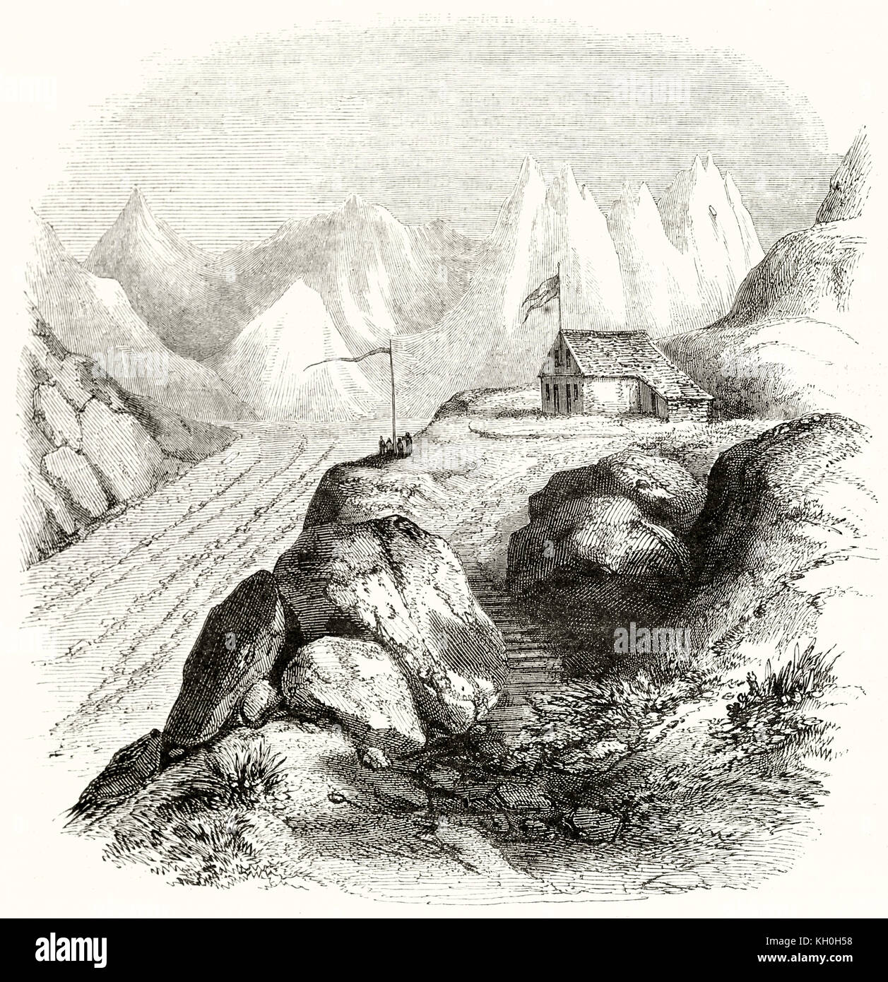 Old view of a chalet in the glacier of the Arc sources. By Armstrong, publ. on Magasin Pittoresque, Paris, 1847 - Stock Image