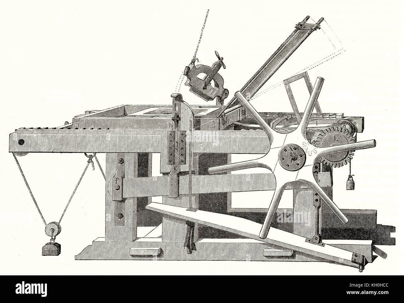 Old illustration of a lithography press. By unidentified author, publ. on Magasin Pittoresque, Paris, 1847 - Stock Image