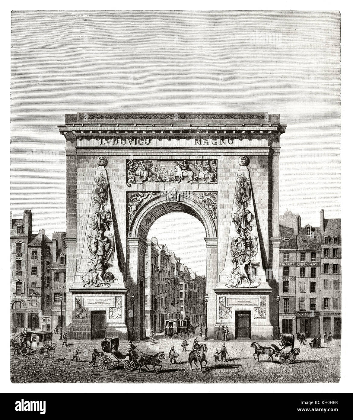 Old view of Porte Saint-Denis, Paris. By Blondel, publ. on Magasin Pittoresque, Paris, 1847 - Stock Image