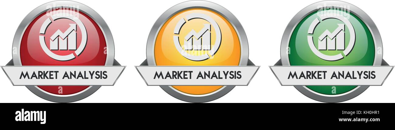 Modern Button Vector Market Analysis for the creative use in graphic design - Stock Image