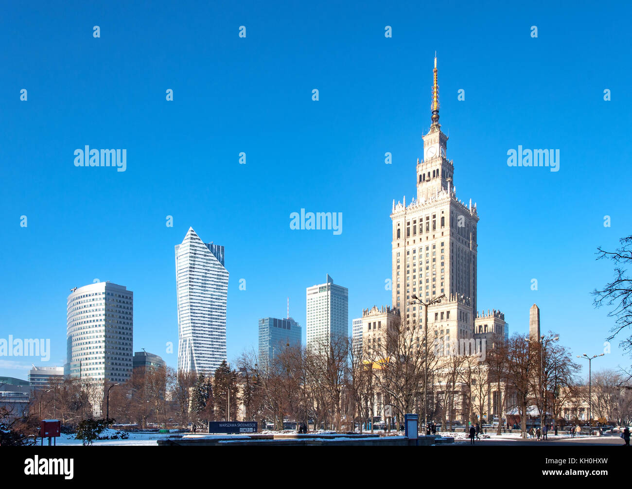 Warsaw city center with Palace of Culture and Science (PKiN), a landmark and symbol of Stalinism and communism, - Stock Image