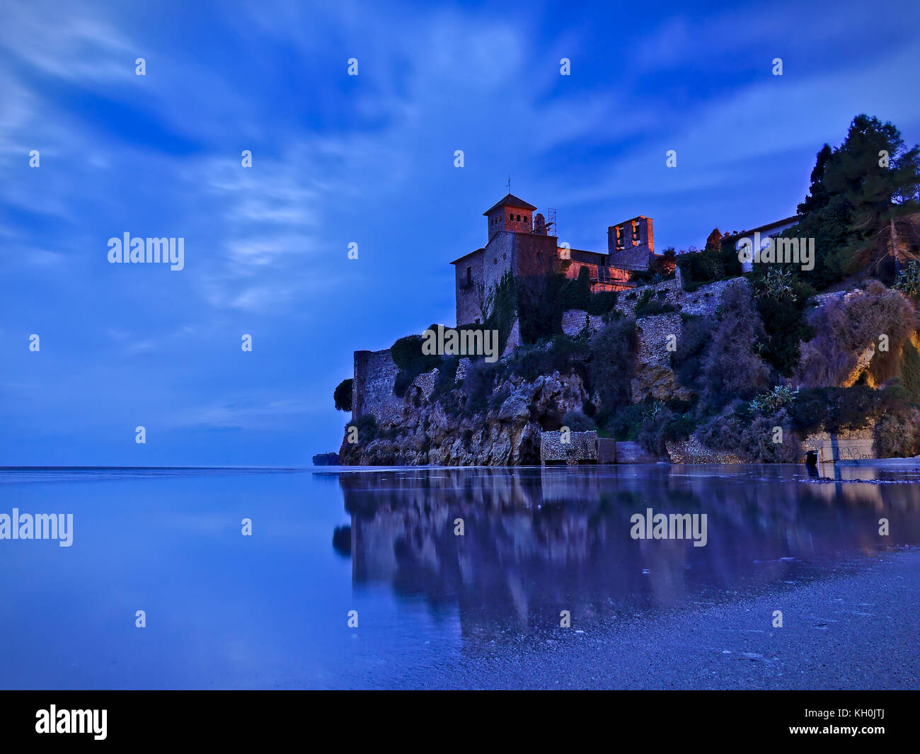 Night landscape, Castillo de Tamarit, Costa dorada,Spain,Tarragona Province - Stock Image