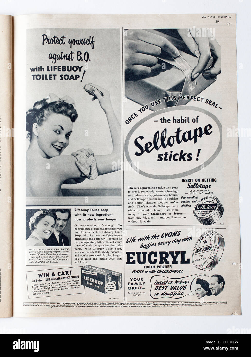 Vintage 1950s Advertising in Illustrated Magazine - Stock Image