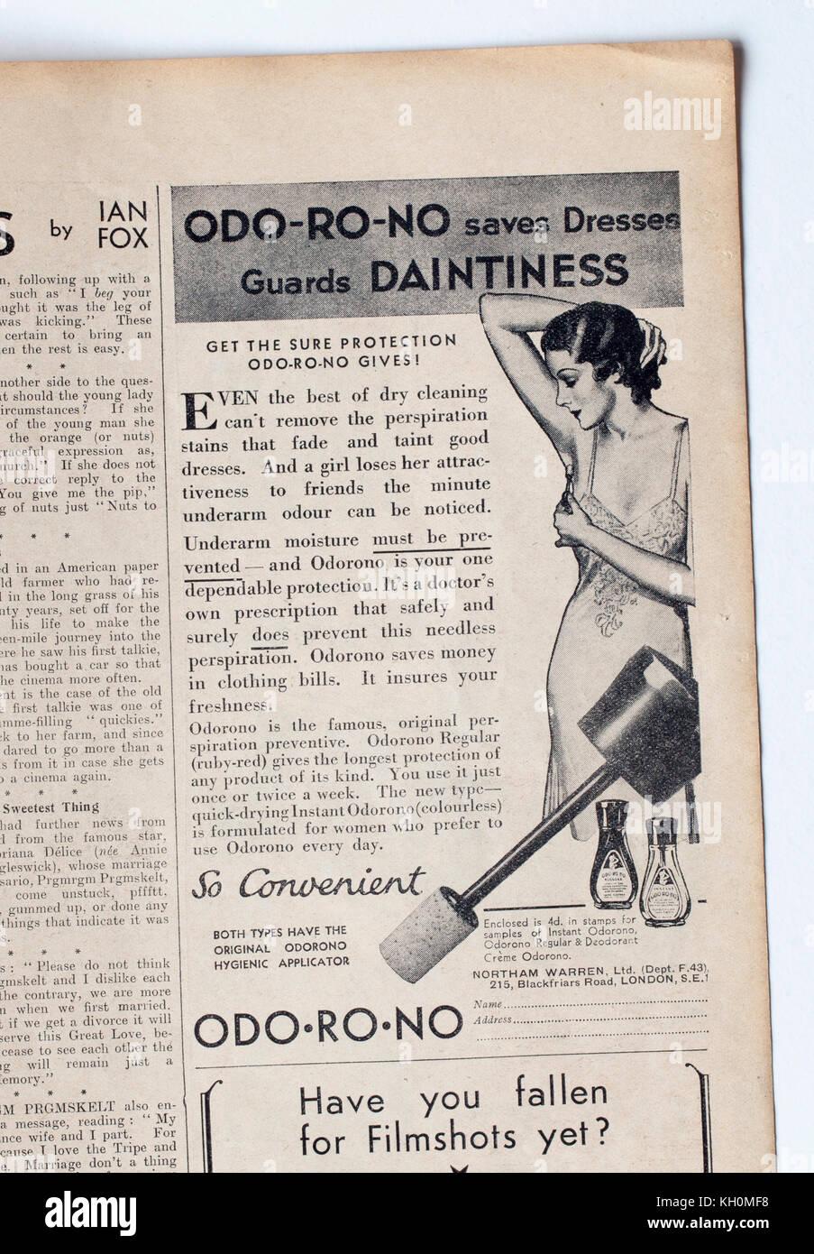1950s Advertising for Odo Ro No deodorant - Stock Image