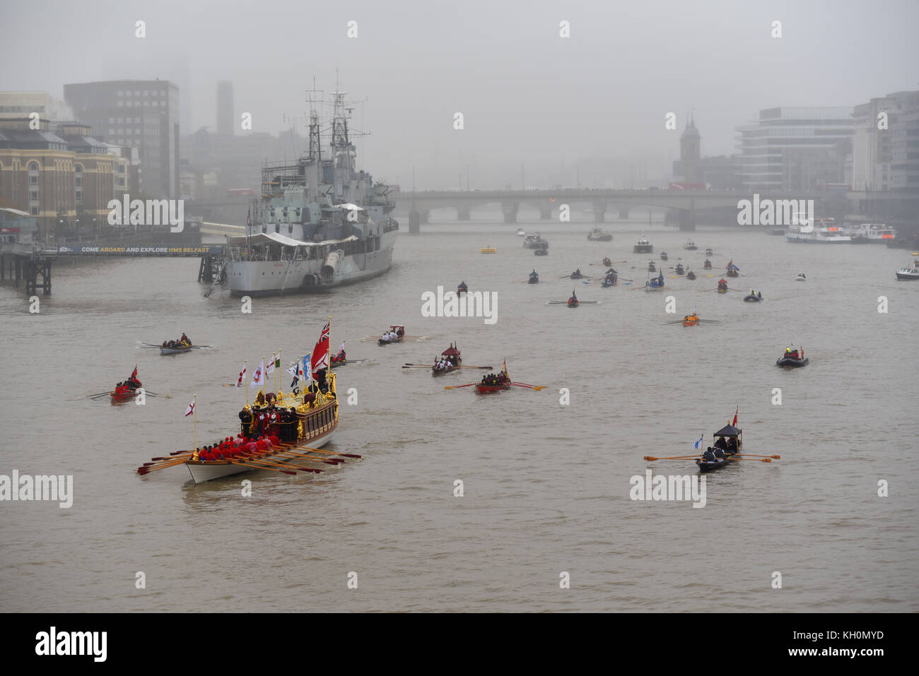 London's new Lord Mayor Charles Bowman traveled aboard the Queen's Rowbarge Gloriana accompanied by a flotilla of - Stock Image