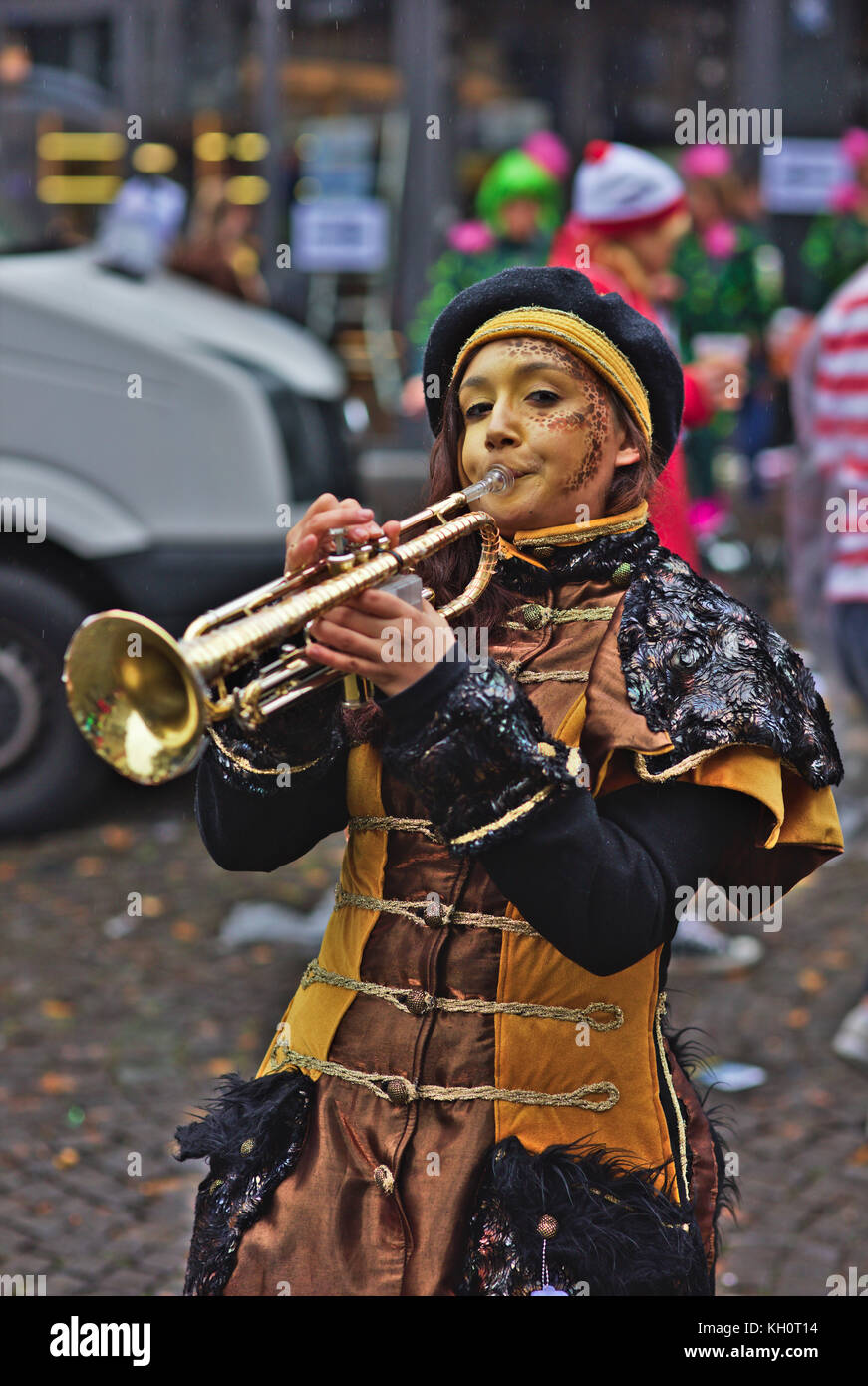 Cologne, Germany, 11 Nov, 2017, Cologne traditionally opens the carnival season Nov. 11th every year. People dressed - Stock Image