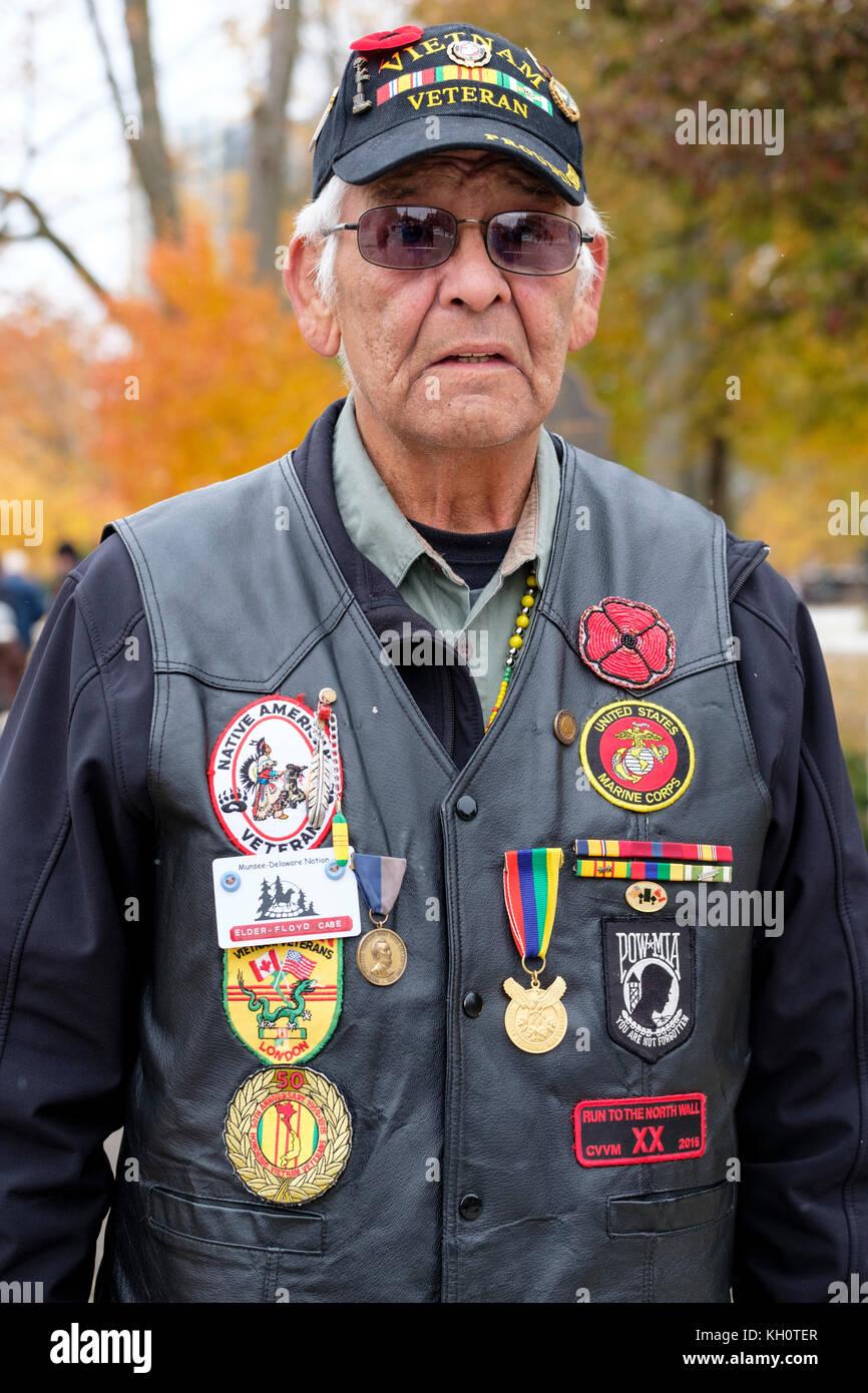 Native American/First Nations elder Vietnam War veteran portrait, Remembrance Day, London, Ontario, Canada - Stock Image