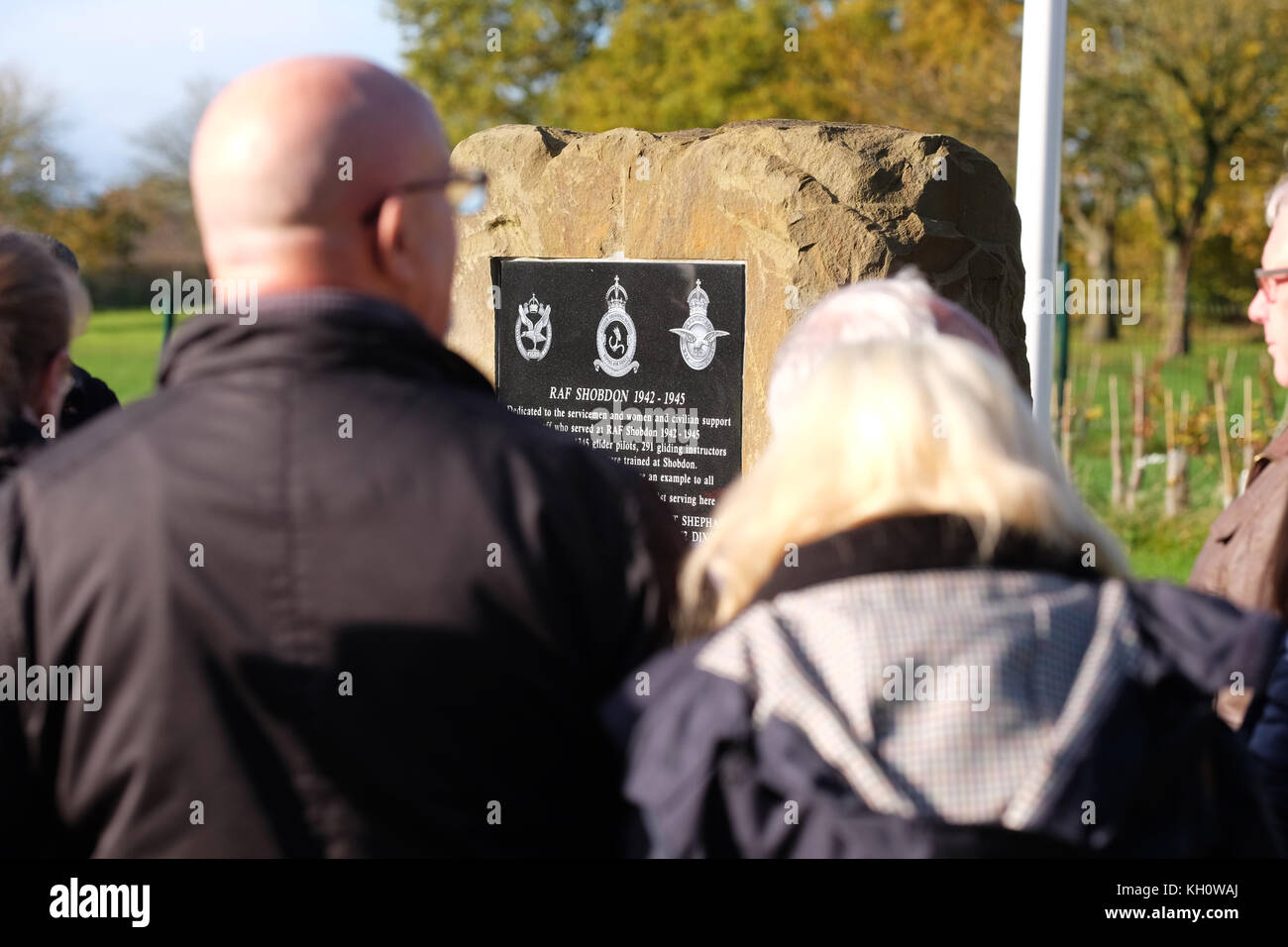 Shobdon airfield, Herefordshire, UK - Sunday 12th November 2017 - Remembrance Sunday at the airfield at Shobdon - Stock Image
