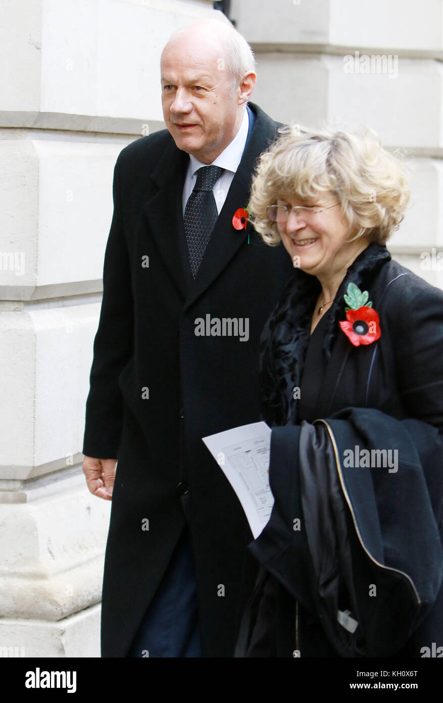 London, UK. 12th Nov, 2017. Damian Green arrives for the annual Remembrance Day service through Downing Street en - Stock Image