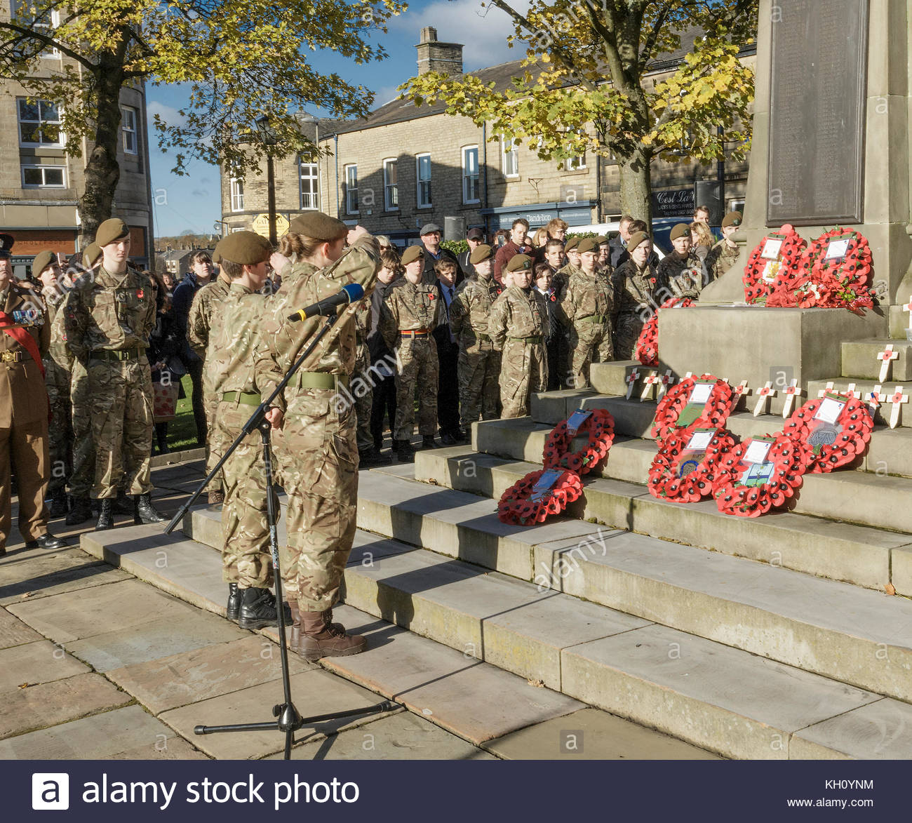 Reportage, archival,12 November 2017. Glossop Derbyshire England remembrance service, Members of Derbyshire Army - Stock Image