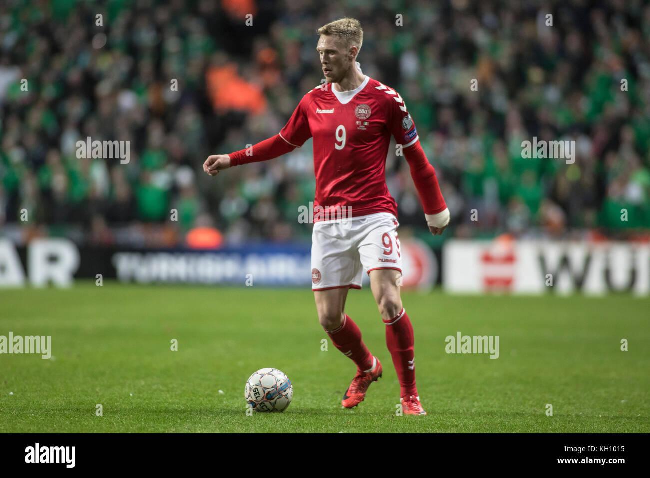 Denmark, Copenhagen - November 11, 2017. Nicolai Jørgensen (9) of Denmark seen during the World Cup playoff - Stock Image