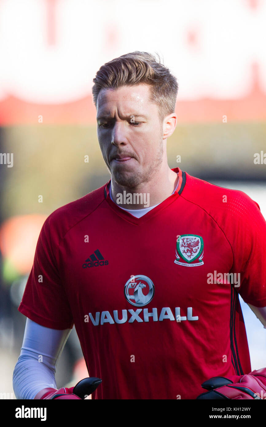 Cardiff, Wales, UK, November 13th 2017. Wayne Hennessey of Wales during training at Cardiff City Stadium ahead of Stock Photo