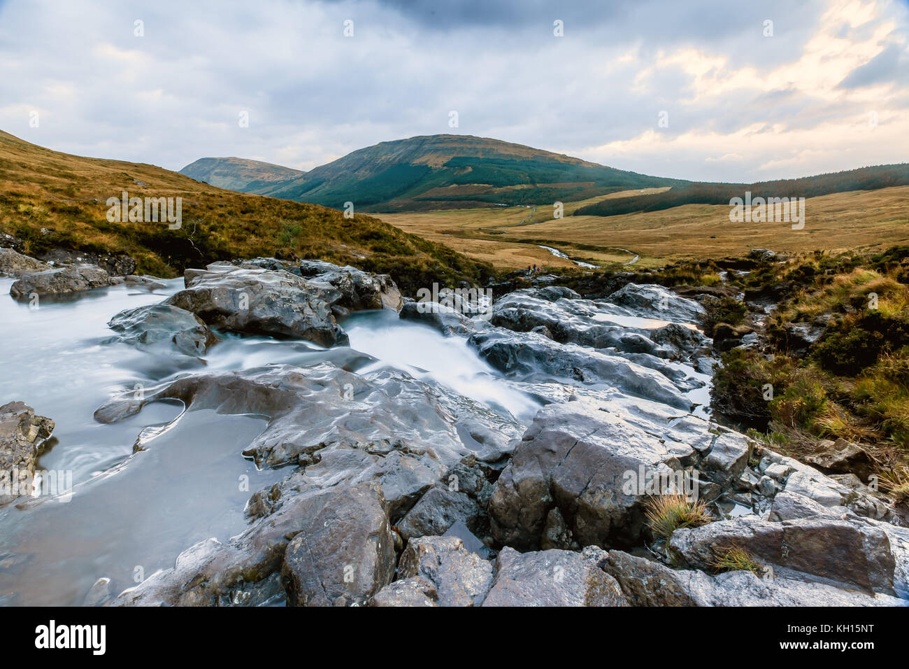Water flows at the Fairy pools at Isle of Skye - Stock Image