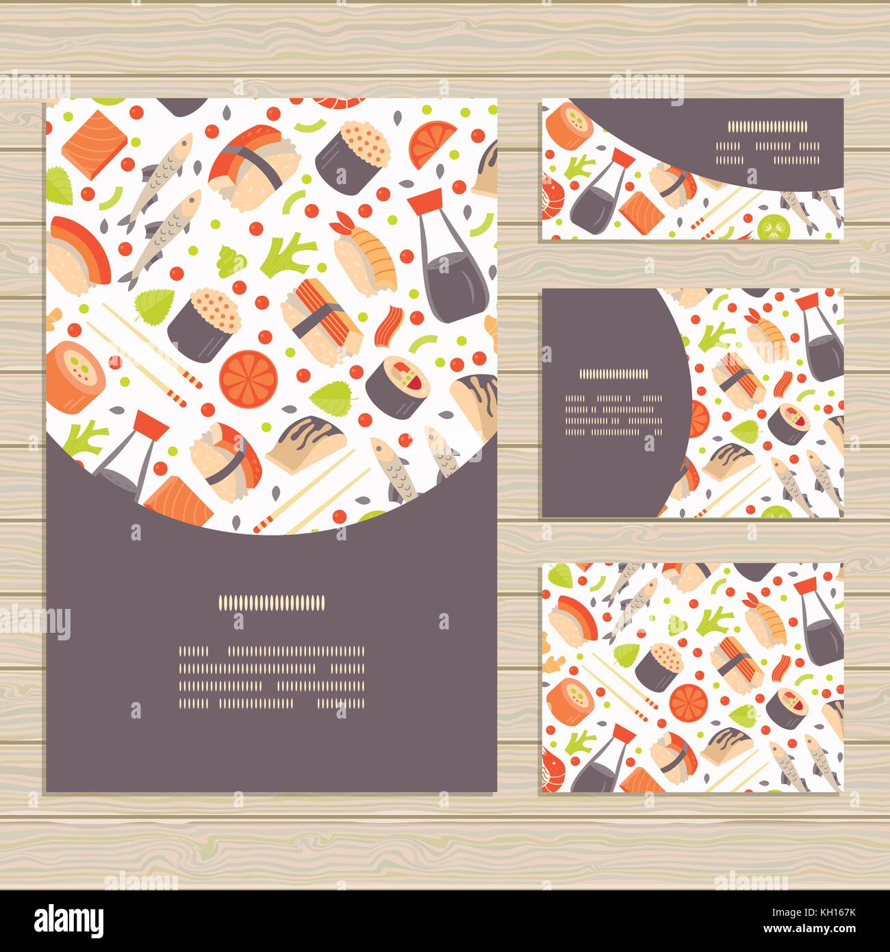 Set of cards on Japanese Sushi  theme. Pattern clipped with Clipping Mask and is fully  editable in Adobe Illustrator - Stock Vector
