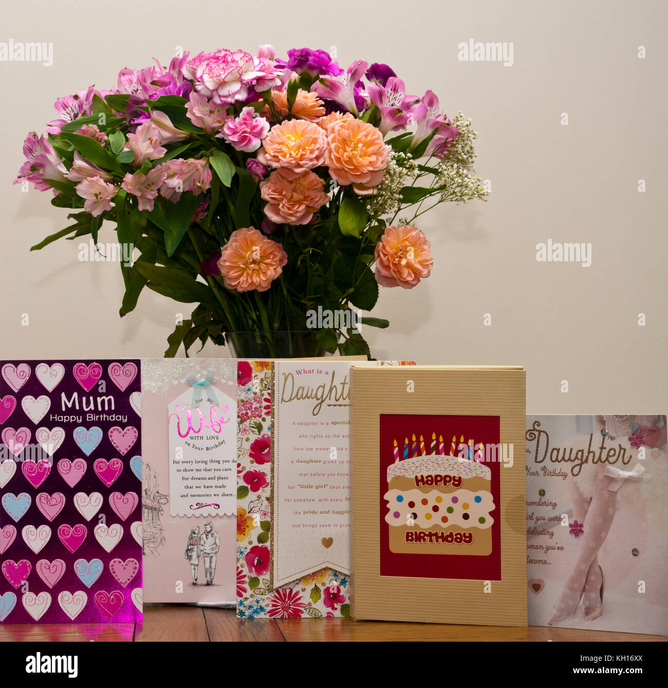 Cards flowers stock photos cards flowers stock images alamy birthday cards with a bunch of flowers in a vase stock image izmirmasajfo