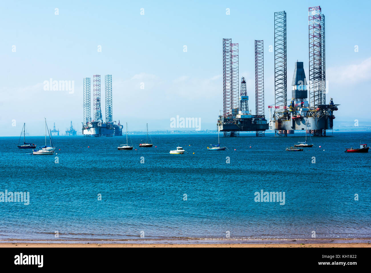 Oil Rigs in the Cromarty Firth, Scotland, United Kingdom - Stock Image