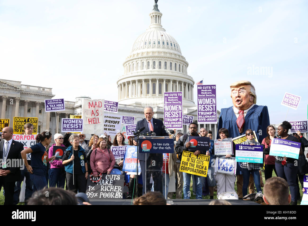 U.S. Senate Minority Leader Chuck Schumer speaks during a Democratic rally in opposition to the Republican Tax plan - Stock Image
