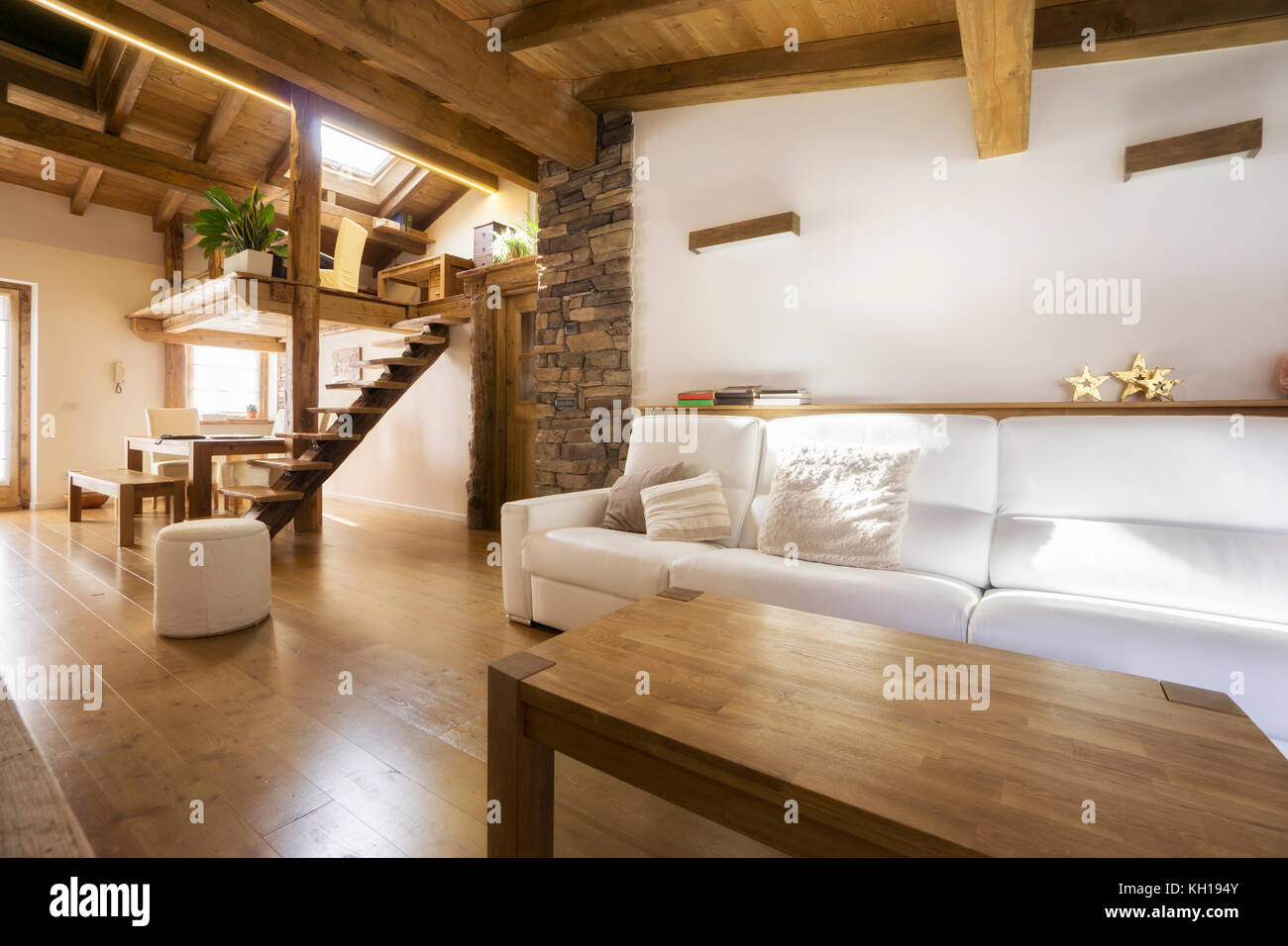 chalet style modern flat in wood - Stock Image