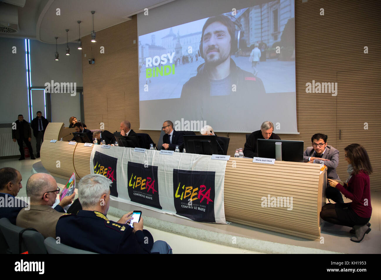 Conference at Università di Torino about Criminal organizations in north Italy. Special Guest Rosy Bindi, president - Stock Image