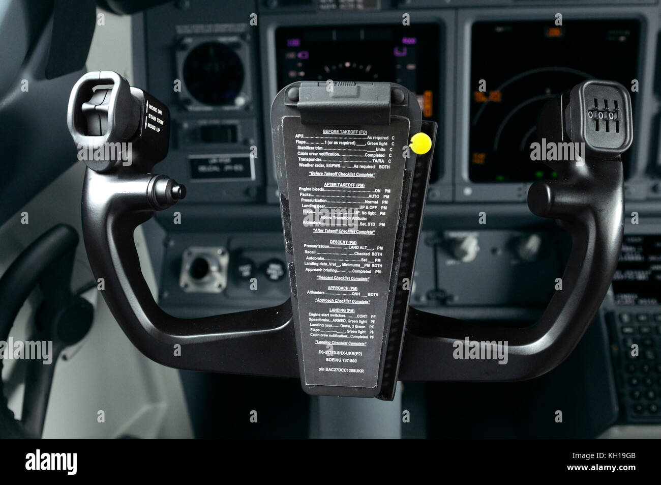 Steering wheel in a cockpit of aircraft Boeing 737-400 Stock