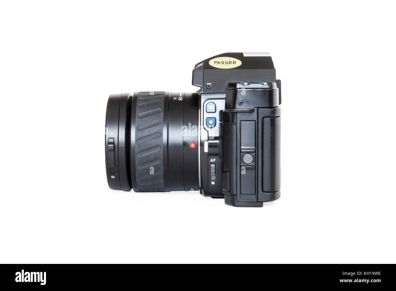 1980s Minolta Maxxum 7000 automatic 35mm roll film SLR camera, 35-80mm zoom lens, isolated against a white background - Stock Image