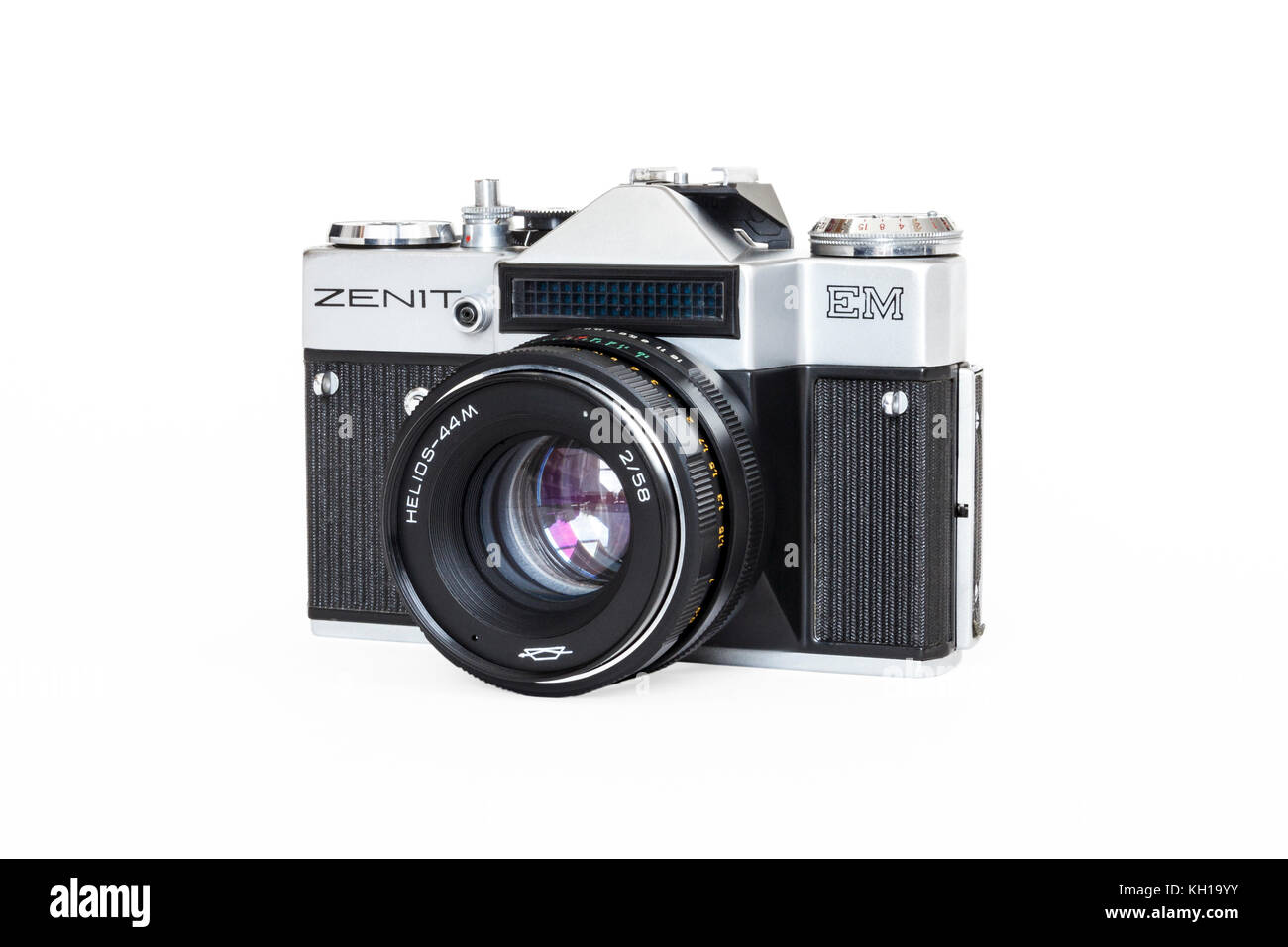Zenit EM 35mm SLR 35mm roll film camera with 50mm lens, 1980s, made in USSR, isolated against a white background - Stock Image