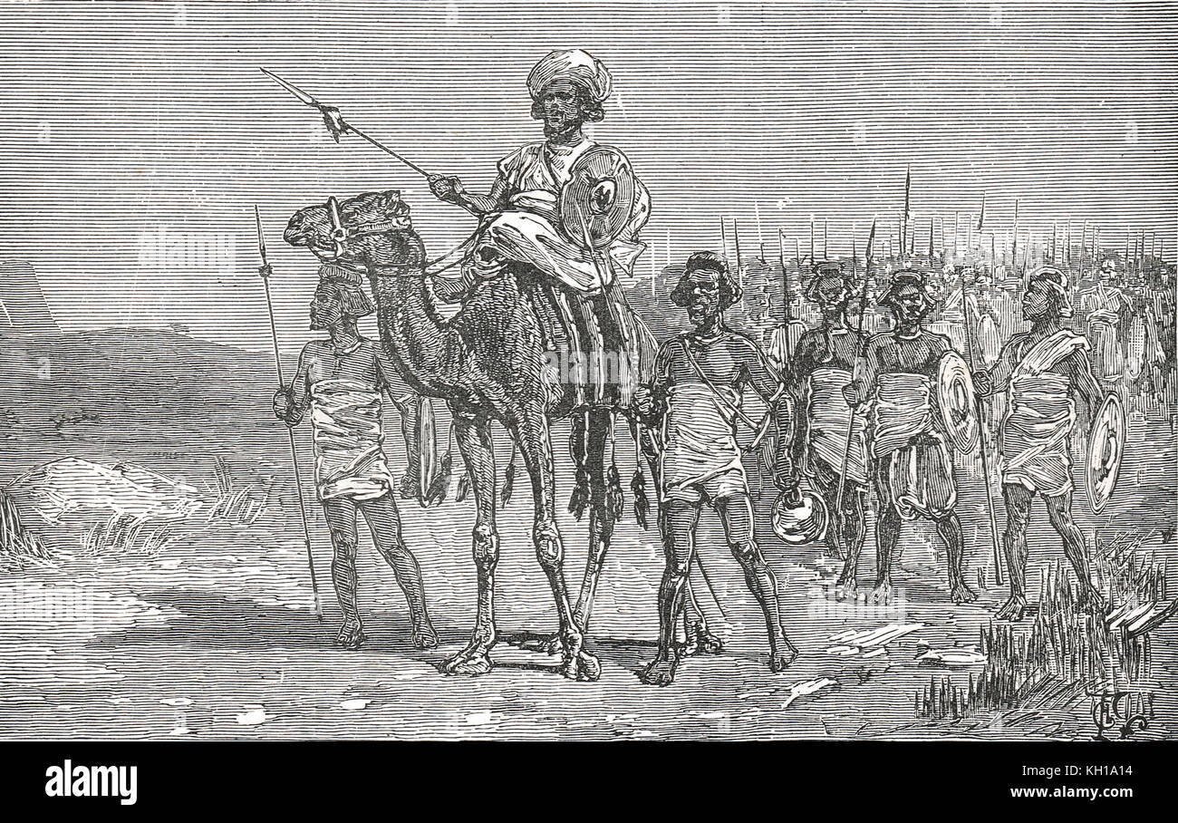 Osman Digna marching on Suakin during the Sudan war - Stock Image