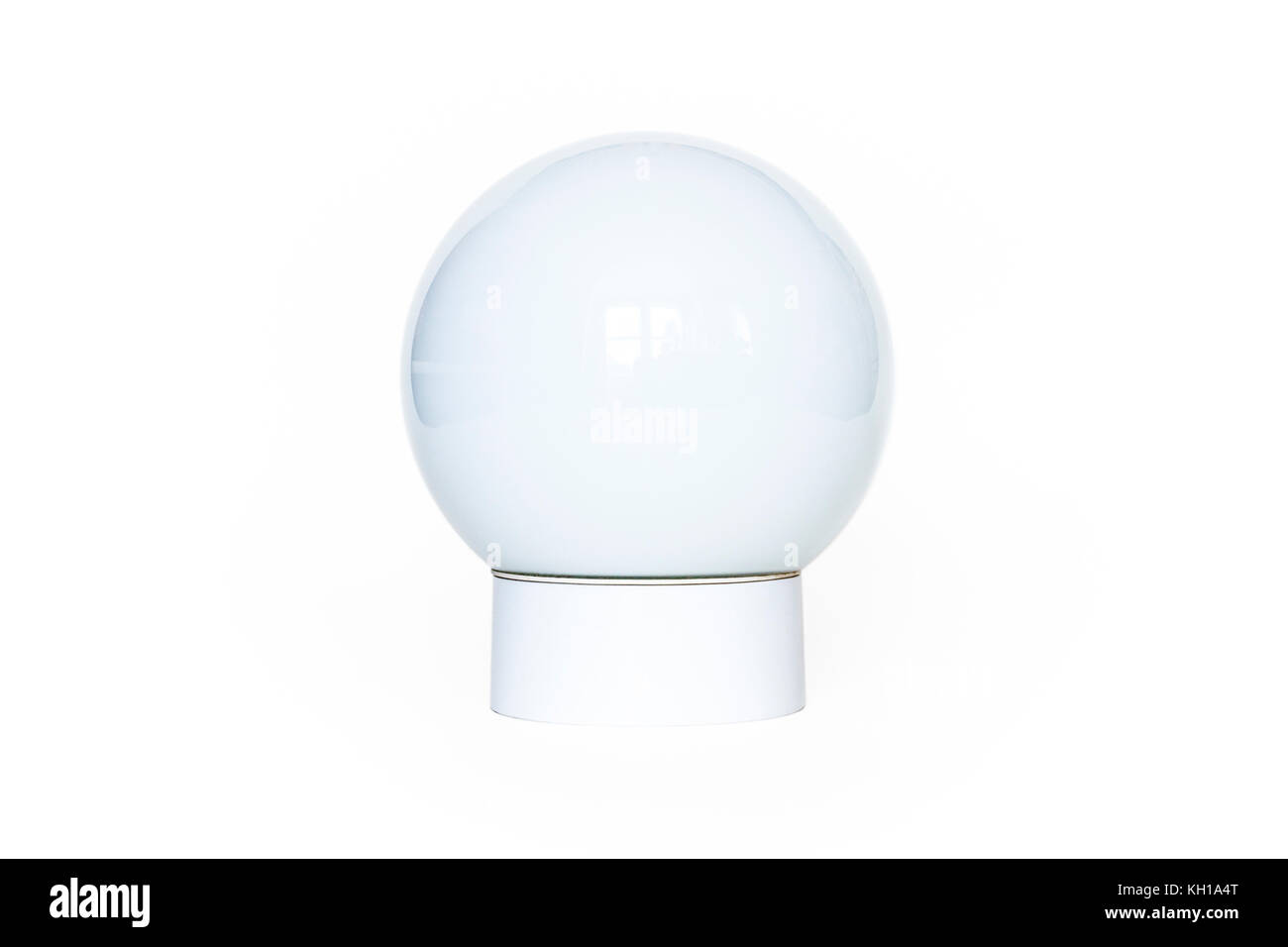 A white opalescent spherical ceiling lamp against a white background - Stock Image