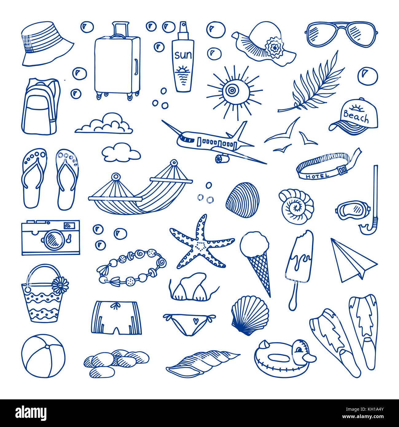 Seaside holidays. illustration. Sunglasses and sunscreen, ice cream, slates, hammock. The concept of summer holidays. - Stock Image