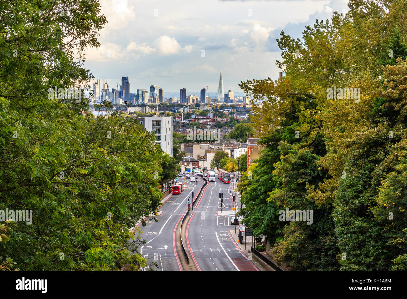 View of Archway and the City of London from Hornsey Lane Bridge, North Islington, London, UK, on a late summer evening - Stock Image