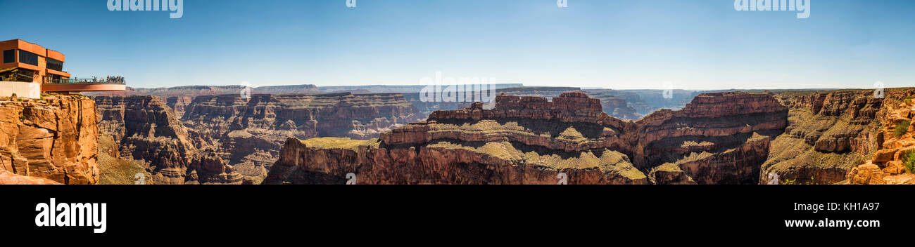 Panorama: Skywalk - Grand Canyon West Rim, Arizona, AZ, USA - Stock Image