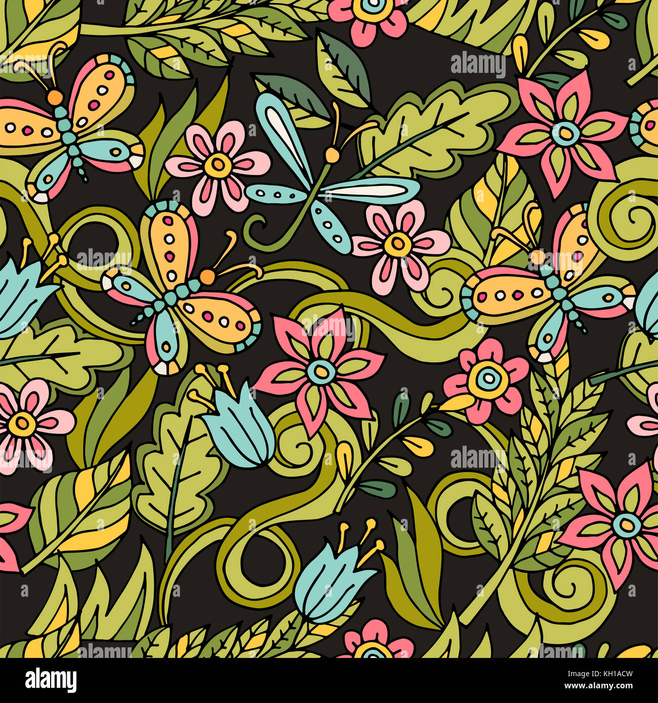 Colorful seamless floral pattern with stylized butterfly and dragonfly. Stock Photo