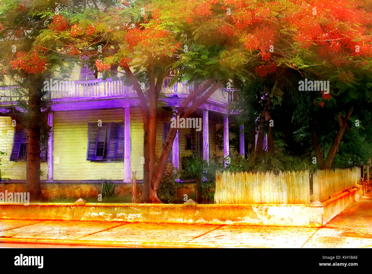 Old Key West Victorian home, Key West, Florida - Stock Image