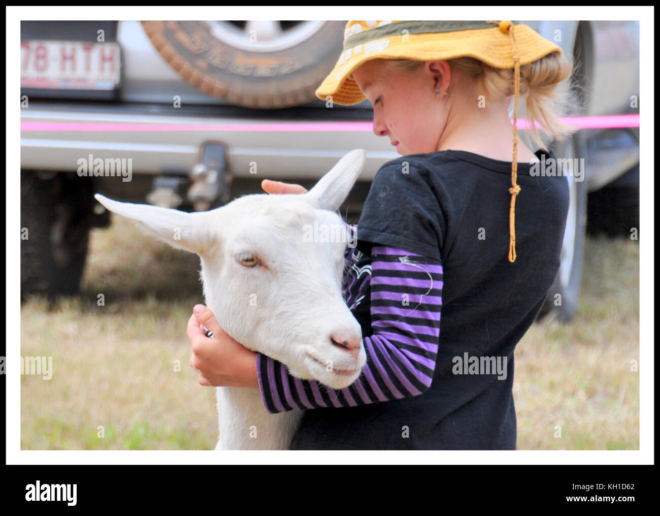 PET NANNY GOAT AND YOUNG GIRL - Stock Image