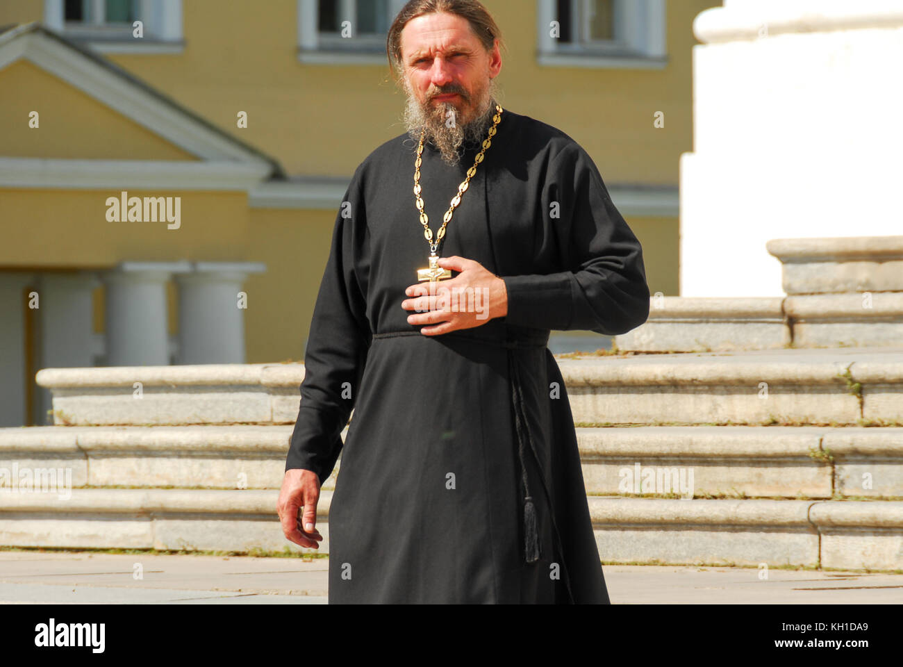 Sergiev, Posad - August 12, 2007: Russian Orthodox priest with a gold cross in Sergiev Posad, Russia - Stock Image