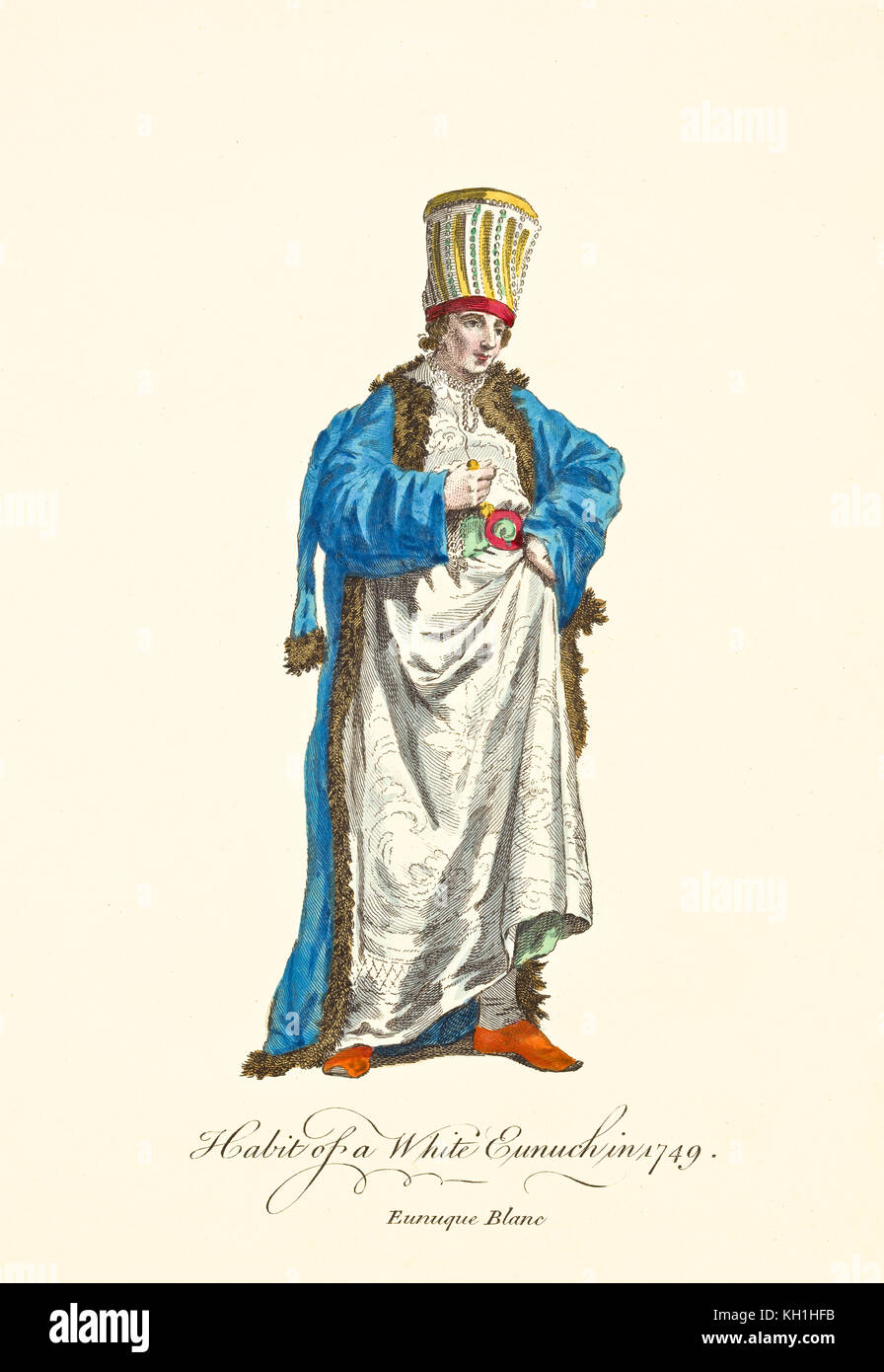 Old illustration of White Eunuch in traditional dresses in 1749. By J.M. Vien, publ. T. Jefferys, London, 1757-1772 Stock Photo