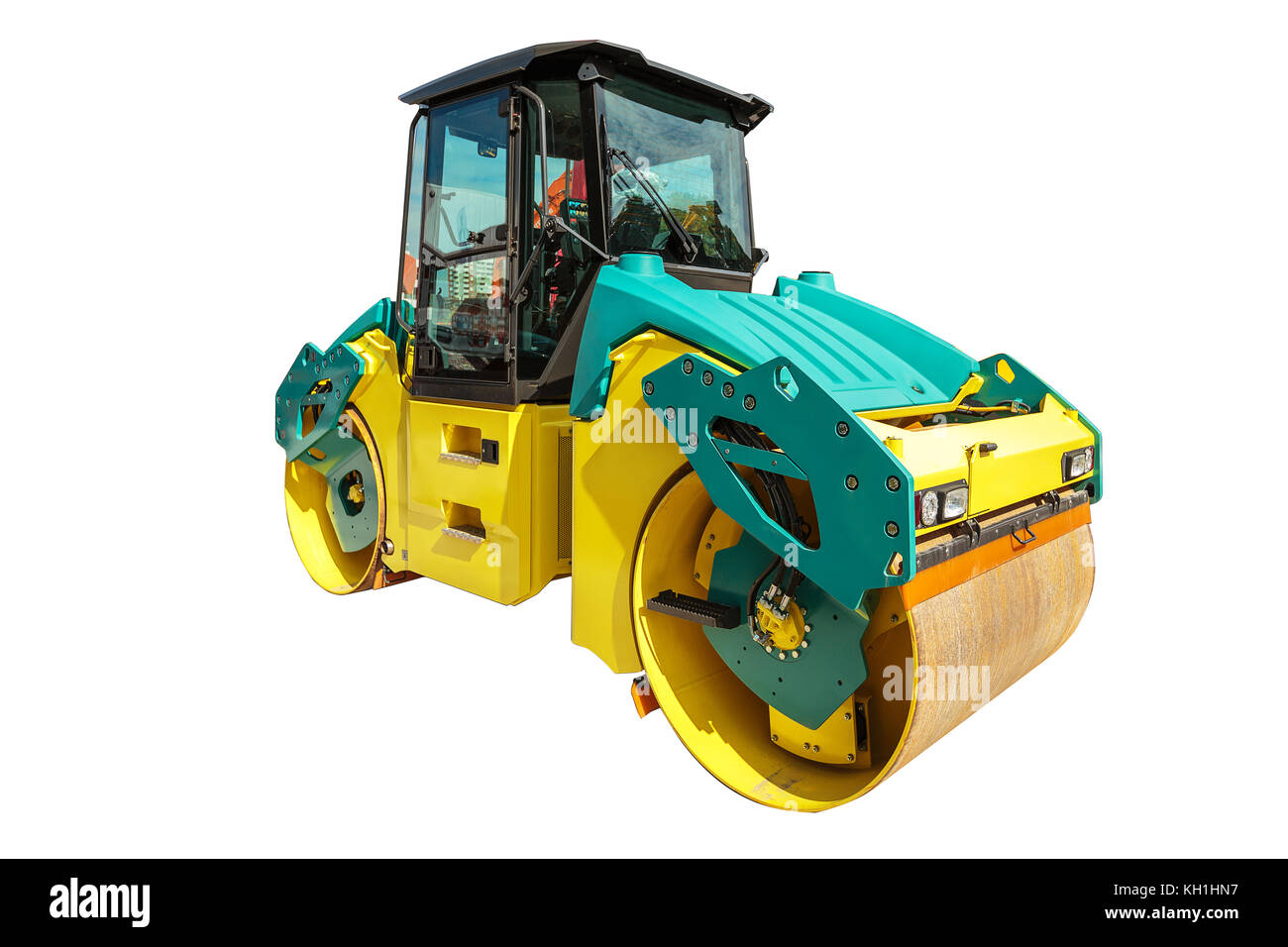 New road roller machine isolated on a white background with clipping path - Stock Image
