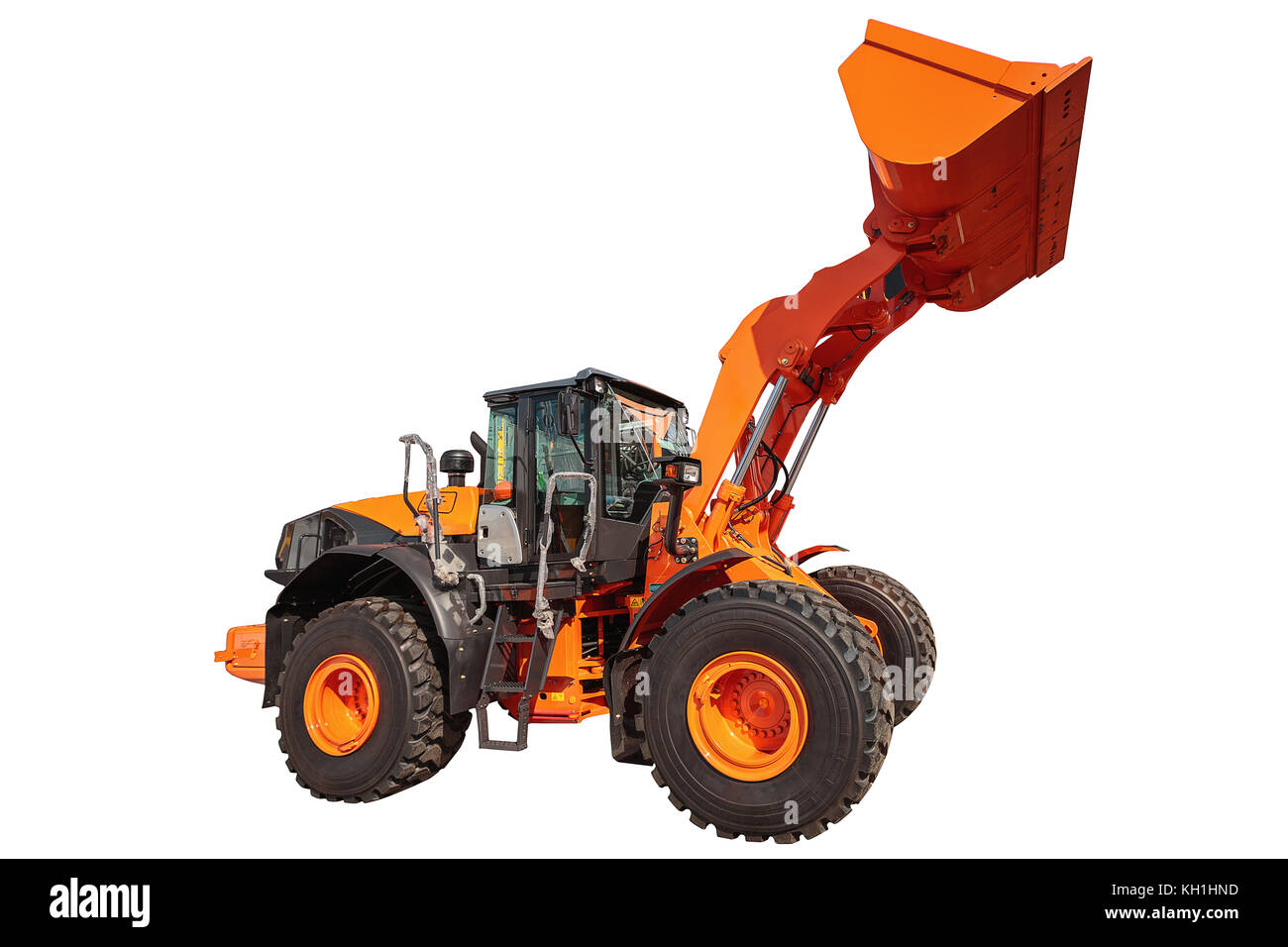 Modern excavator bulldozer with clipping path isolated on white background - Stock Image