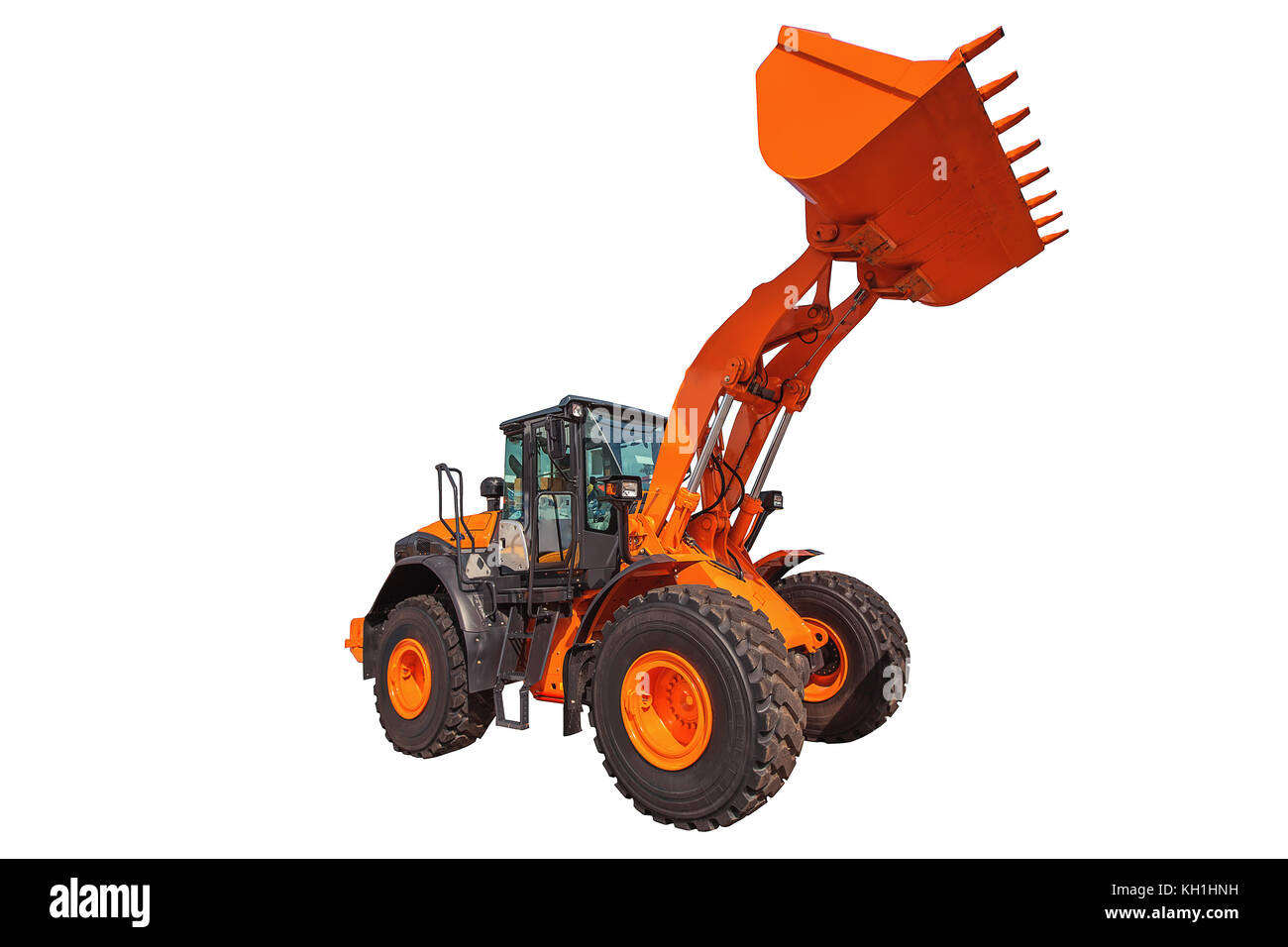 Loader excavator construction machinery equipment isolated on white background - Stock Image