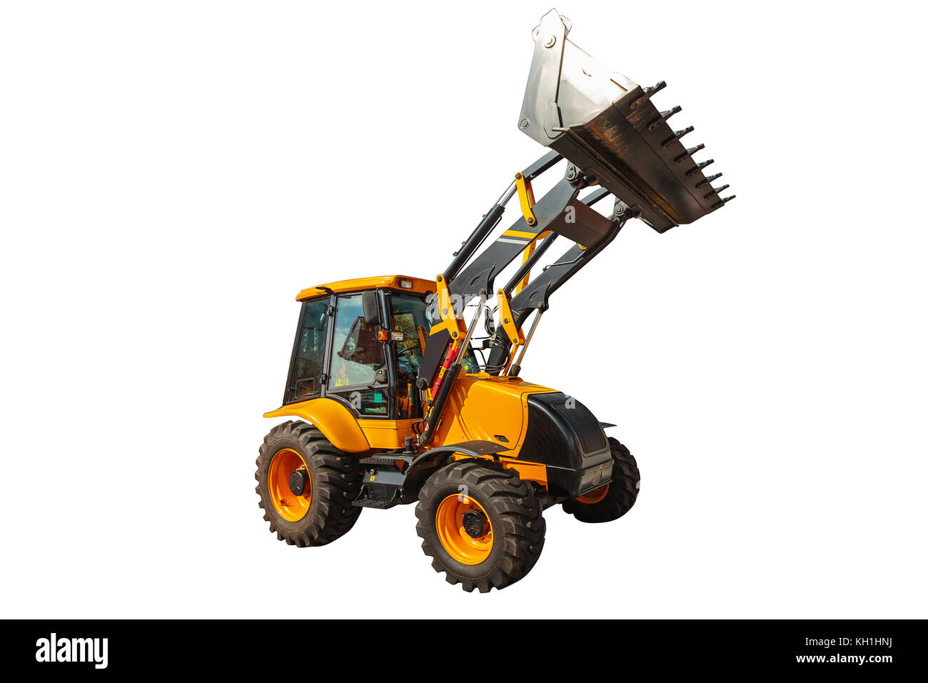 Backhoe loader or bulldozer - excavator isolated on white background with clipping path - Stock Image